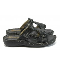 Дамски чехли - естествена кожа - черни - EO-8759
