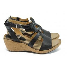 Дамски сандали - естествена кожа - черни - EO-8762