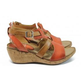 Дамски сандали - естествена кожа - червени - EO-8763
