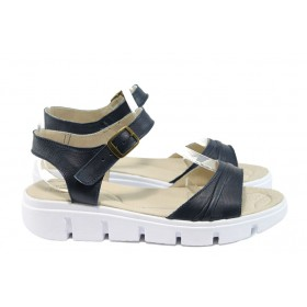 Дамски сандали - естествена кожа - сини - EO-8765
