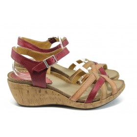 Дамски сандали - естествена кожа - червени - EO-8761