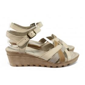 Дамски сандали - естествена кожа - бежови - EO-8766