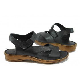 Дамски сандали - естествена кожа - черни - EO-8793