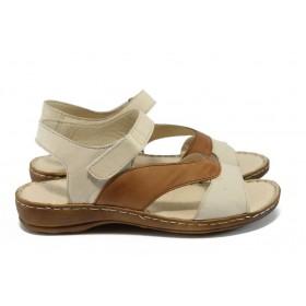 Дамски сандали - естествена кожа - бежови - EO-8794