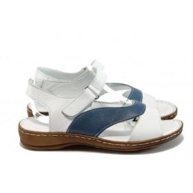 Дамски сандали - естествена кожа - бели - EO-8795