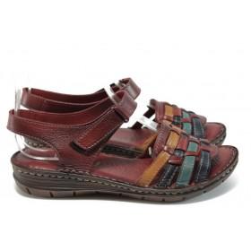 Дамски сандали - естествена кожа - бордо - EO-8796