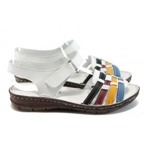 Дамски сандали - естествена кожа - бели - EO-8797