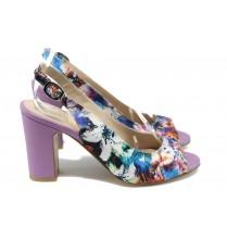 Дамски сандали - висококачествен текстилен материал - лилави - EO-8792