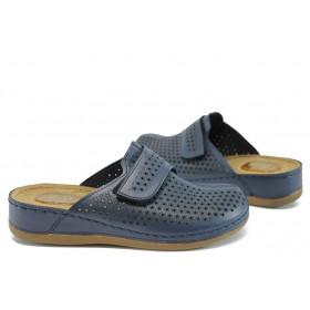 Дамски чехли - естествена кожа - сини - EO-8799