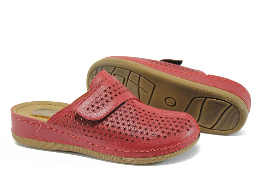 Дамски чехли - естествена кожа - червени - EO-8801