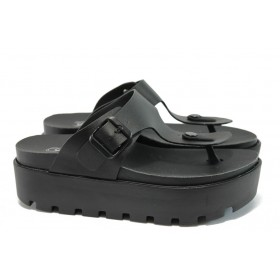 Дамски чехли - висококачествена еко-кожа - черни - EO-8804