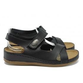 Дамски сандали - висококачествена еко-кожа - черни - EO-8806