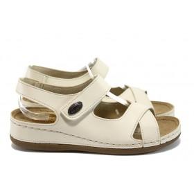 Дамски сандали - висококачествена еко-кожа - бежови - EO-8815