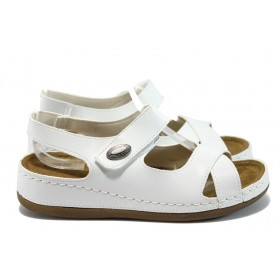 Дамски сандали - висококачествена еко-кожа - бели - EO-8807