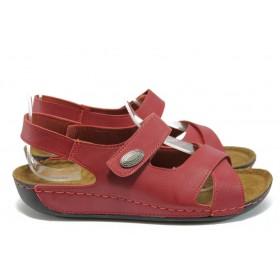 Дамски сандали - висококачествена еко-кожа - червени - EO-8811