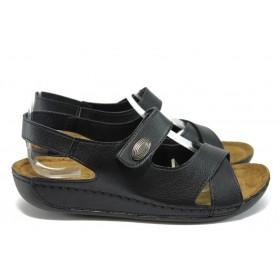 Дамски сандали - висококачествена еко-кожа - черни - EO-8813