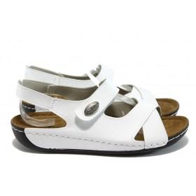 Дамски сандали - висококачествена еко-кожа - бели - EO-8814