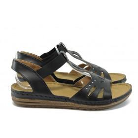 Дамски сандали - висококачествена еко-кожа - черни - EO-8816