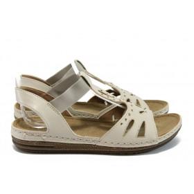 Дамски сандали - висококачествена еко-кожа - бежови - EO-8817