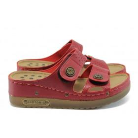 Дамски чехли - висококачествена еко-кожа - червени - EO-8820