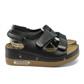 Дамски сандали - висококачествена еко-кожа - черни - EO-8822