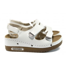 Дамски сандали - висококачествена еко-кожа - бели - EO-8823