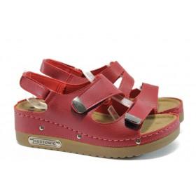 Дамски сандали - висококачествена еко-кожа - червени - EO-8824