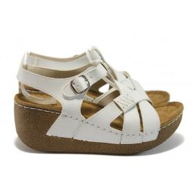 Дамски сандали - висококачествена еко-кожа - бели - EO-8825