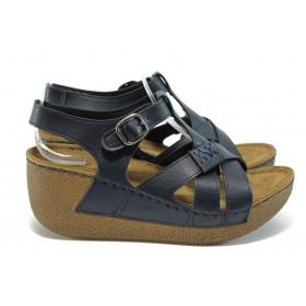 Дамски сандали - висококачествена еко-кожа - сини - EO-8826