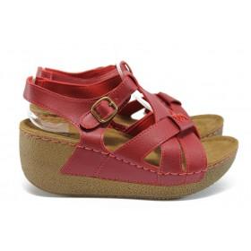 Дамски сандали - висококачествена еко-кожа - червени - EO-8827