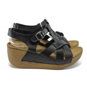 Дамски сандали - висококачествена еко-кожа - черни - EO-8828