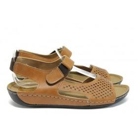 Дамски сандали - висококачествена еко-кожа - кафяви - EO-8835