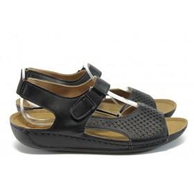 Дамски сандали - висококачествена еко-кожа - черни - EO-8836
