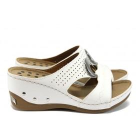 Дамски чехли - висококачествена еко-кожа - бели - EO-8845