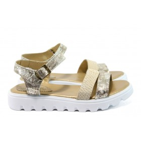 Дамски сандали - естествена кожа - бежови - EO-8867