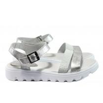 Дамски сандали - естествена кожа - бели - EO-8866
