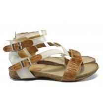 Дамски сандали - естествена кожа - кафяви - EO-8860