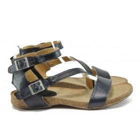 Дамски сандали - естествена кожа - черни - EO-8861