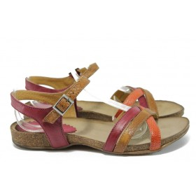 Дамски сандали - естествена кожа - черни - EO-8864