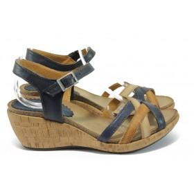 Дамски сандали - естествена кожа - сини - EO-8865