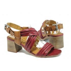 Дамски сандали - естествена кожа - червени - EO-8862