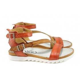 Дамски сандали - естествена кожа - червени - EO-8875