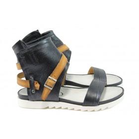 Дамски сандали - естествена кожа - черни - EO-8874