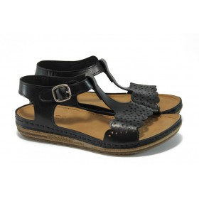 Дамски сандали - висококачествена еко-кожа - черни - EO-8878
