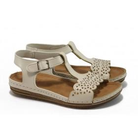 Дамски сандали - висококачествена еко-кожа - бежови - EO-8879
