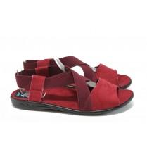 Дамски сандали - висококачествен текстилен материал - бордо - EO-8883