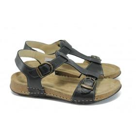 Дамски сандали - естествена кожа - черни - EO-8882