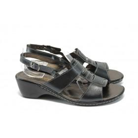 Дамски сандали - естествена кожа с естествен лак - черни - EO-8880