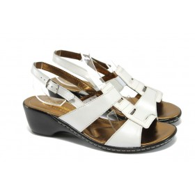 Дамски сандали - естествена кожа с естествен лак - бели - EO-8881