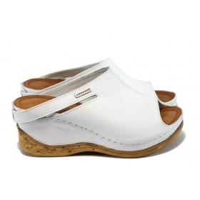 Дамски чехли - естествена кожа - бели - EO-8898